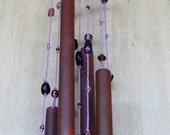 Purple Rain copper and glass bead wind chime