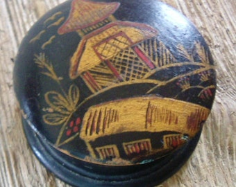 Antique Chinese ebonised wood and gilt painted box