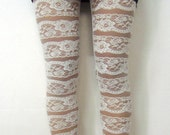 12% discount Flower line pattern cozy and easy elastic lace mesh &cotton white leggings