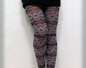 50% Discount Interesting line pattern cozy and easy elastic lace mesh &cotton purple leggings tights(BARI FASHION)