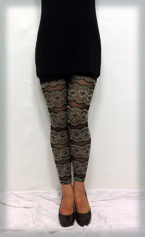 50% Discount Interesting line pattern cozy and easy elastic lace mesh &cotton gold and black leggings (BARI FASHION)