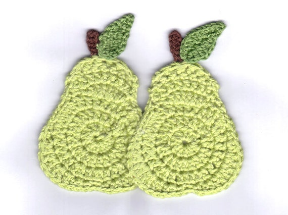 Pear coasters, fruit coasters, crochet pear coaster