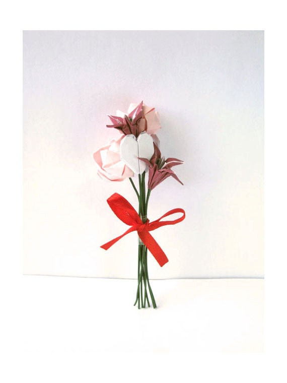 Origami bouquet, paper flower bouquet minature rose and lily in pink, purple and white