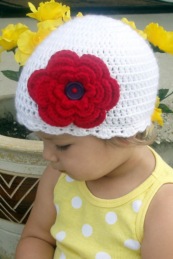 Cotton Crocheted Flower Hat  (2T-4T) or  any size, color you would like