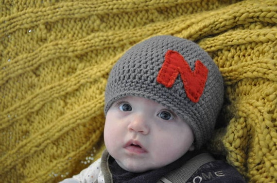 Crocheted Boys Initial Hat Newborn thru 4T Great for Photo Props