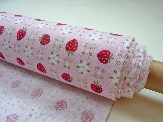 Pink cotton fabric by the yard, shabby chic strawberry pattern 1,94 yards ---Private Listing for Jody---