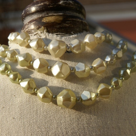 Vintage Necklace - Vintage  Beaded Necklace, shades of ice green, triple strand.