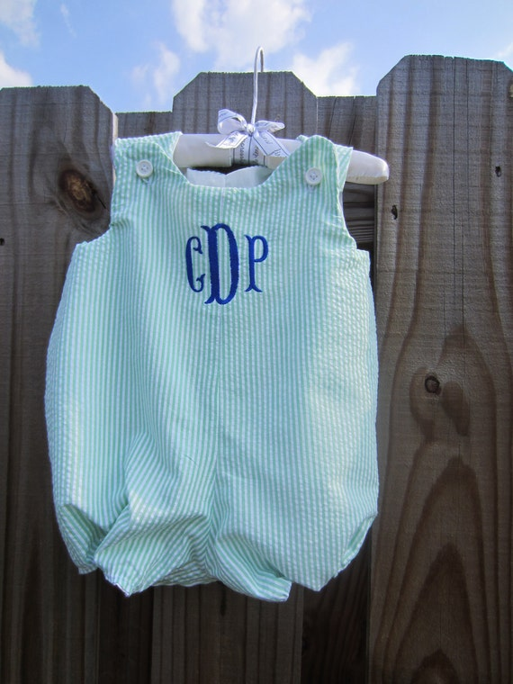 infant/toddler boys  seersucker bubble PERSONALIZATION FREE
