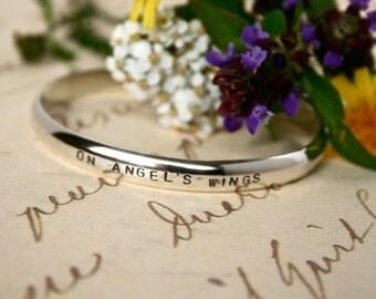 Sterling Silver Miscarriage Memorial Bracelet Cuff - handstamped