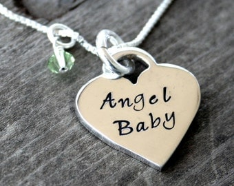 Angel Baby Heart Necklace - memorial necklace for miscarriage and baby loss