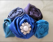 The Sally  Peacock Rolled Satin Fabric Flower Headband for Newborns, Girls, Teens, or Adults Embellished with Sparkle Button