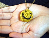 SALE /// knitted Necklace happy face in mustard yellow