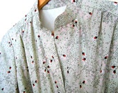 Vintage Mint Dress with Cherry Blossom Flowers, Size Medium
