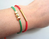 Friendship Bracelet in Forest green with three Gold beads Bracelet, stacking bracelets