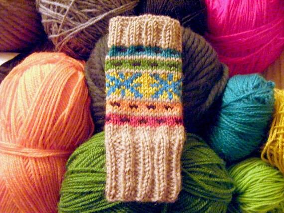 Fair isle multicolored fingerless gloves, 100% merino wool