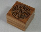 Ring box of solid walnut with Laser engraved celtic design.  Free Shipping and Engraving. RB14