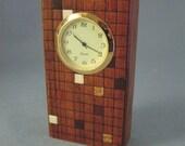 Desk clock of bubinga with inlaid squares.  MDC-5 Free shipping