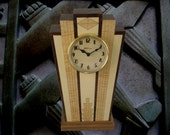 Art Deco Mantle clock with wood dial with Free Shipping.  MC40