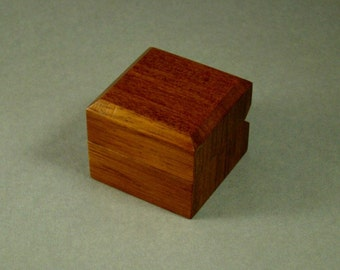 Solid bubinga ring box. Free Shipping and Engraving.  RB47