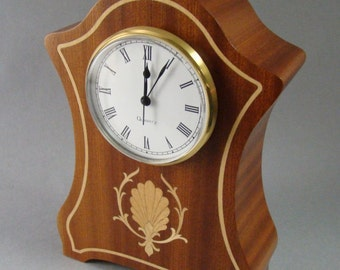 Mantle clock of Ribbon sapele with inlay.  MC31  with Free Shipping.