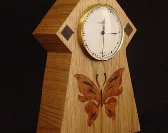 Mantle Clock with Butterfly inlay.  MC19  Free Shipping.