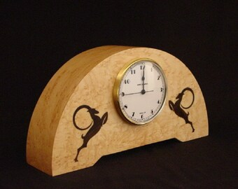 Mantle clock with Art deco gazelles  MC1  Free Shipping.