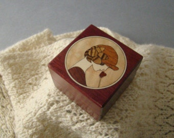 Ring box with inlaid Art Deco Girl and Rose.  Free Shipping and Engraving. RB2
