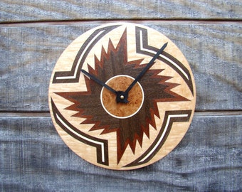 Inlaid Wood Wall Clock titled Solar Storm for the Home or Office  WC-18 Free Shipping.