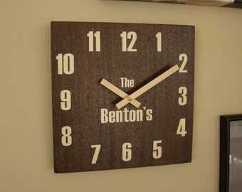 """10"""" x 10"""" wall clock of wenge inlaid with  figured maple with family name.  WC-11 Free Shipping."""