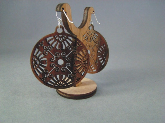 Earrings made of rosewood with sterling silver findings. FREE SHIPPING.