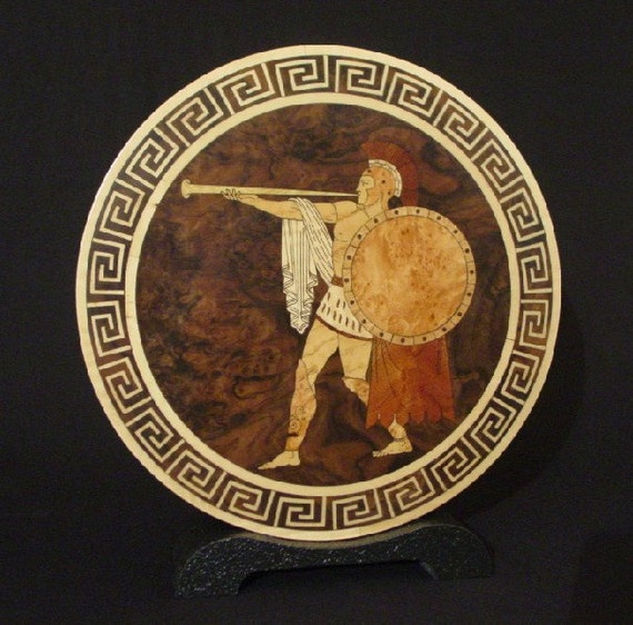 Greek Trumpeter inlaid accent piece for the home