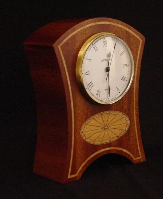 Mantle Clock of ribbon sapele, oak and anigre.  MC29 Free Shipping.