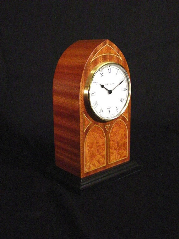 Mantle Clock traditional with cathedral windows.  MC34  Free Shipping.