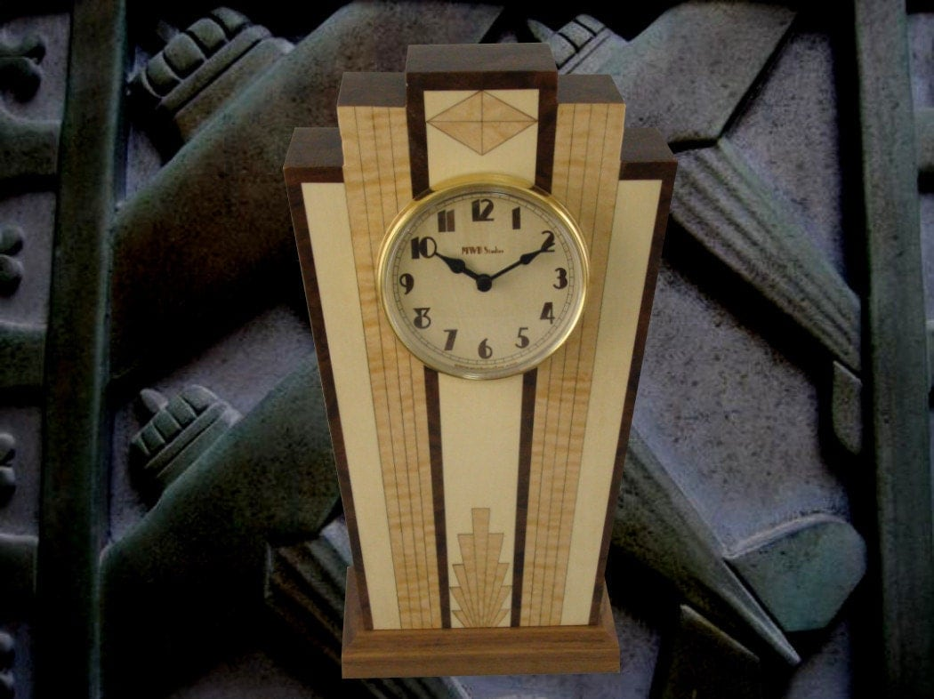 Art Deco Mantle Clock With Wood Dial With Free Shipping Mc40