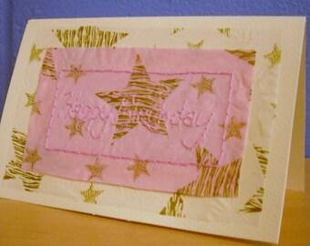 Birthday Card, Hand Stitched Card