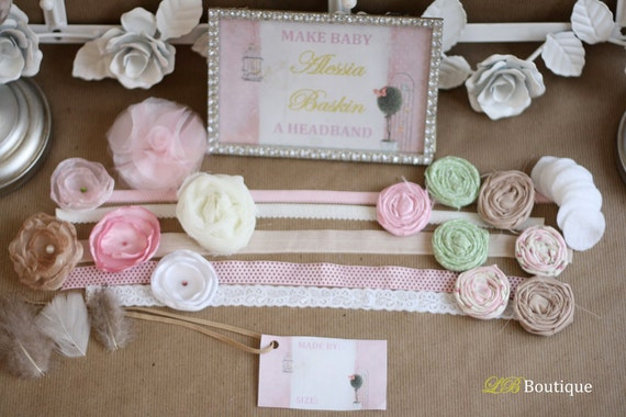 Shabby Chic Headband Kit  - Baby Shower or Birthday Party (20 Count)