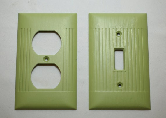 SUPER 5 DOLLAR SALE   Upcyled Set Of Light Switch Cover With An Outlet Cover In Green