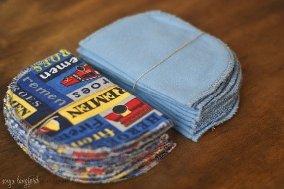 Blue Firemen - Set of 40 Family Cloth Wipes Flannel - Resuable Wipes - Double Thickness