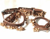 Slave Collar and Cuffs Set Copper Color Bells and Brown Leather
