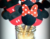 MIckey and Minnie Mouse   Cupcake Toppers Classic Red and Black Birthday