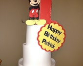 Mickey Mouse Cake Topper - 3 piece set, personalized with Mickey, age, name Mickey Birthday