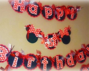 Minnie Mouse Birthday Banner - Classic Minnie with Red Black and white