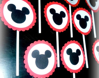 Mickey Mouse Party Cupcake toppers Birthday Classic red and black
