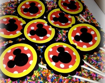 Mickey Mouse Birthday Topper set - Classic Mickey red, black, white, yellow Cupcake toppers
