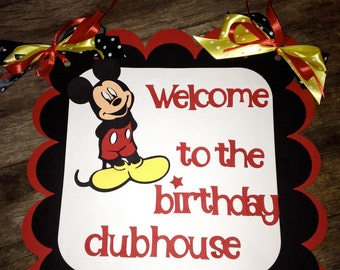 Mickey Mouse Birthday door sign - welcome to the clubhouse - Classic Mickey Mouse