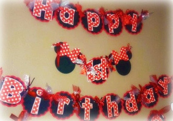 Minnie Mouse Birthday Banner Classic Minnie with Red Black