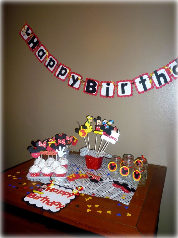 Mickey Mouse Birthday party set - banner, toppers, centerpiece, favor tags confetti and door sign