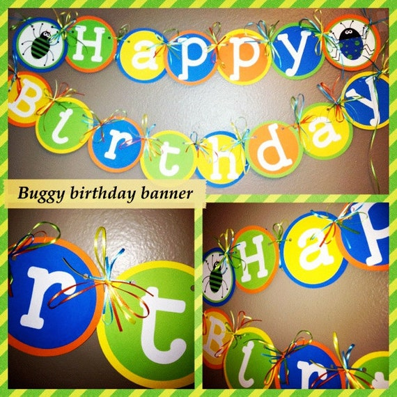 Happy Birthday Bug Party Banner Blue, Green, yellow, orange with Bugs