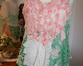 Beautiful one of a kind top made from colorful doilies and lace