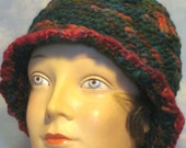 for charlouwil - Greens, Deep Red Accents, Crochet Hat Toque Beanie in Hand Spun Variegated Yarn, Vintage Style